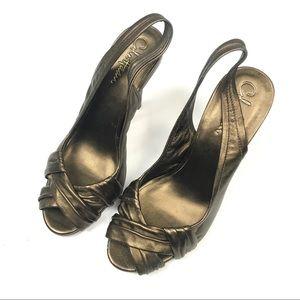 Cole Haan Shoes - Cole Haan Slingback Nike Air Metallic Heels Sz 7
